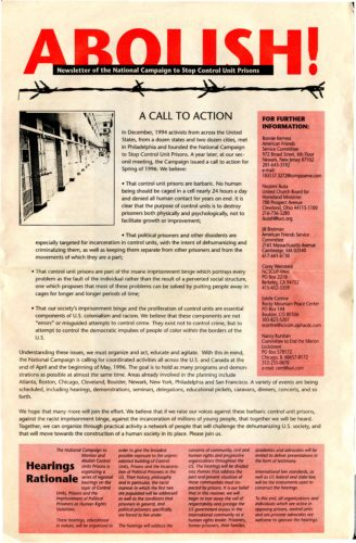 Cover of newsletter with text and a prison photo