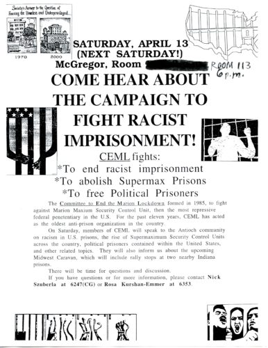 One page flyer with text and small prison photos