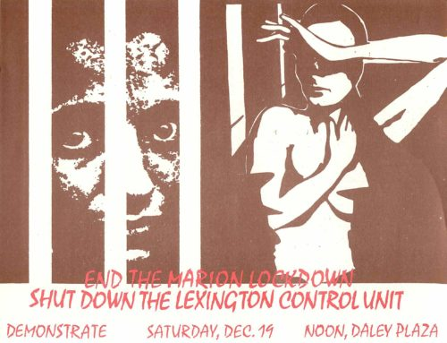 Flyer with prison images calling for a demonstration against the Marion lockdown and the Lexington Control Unit