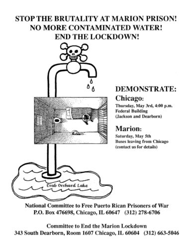 Black and white flyer with text and drawing of skull and crossbones on water tap