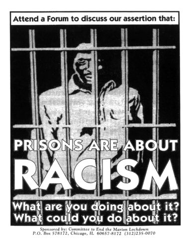 Black and white poster with illustration of a Black prisoner behind bars