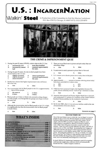 Front page of Walkin Steel newsletter with prison photo
