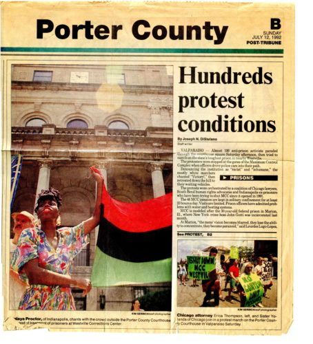 Front page of newspaper with text and photos of demonstrations