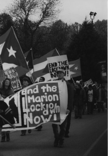 Photo of the October 27, 1997 demonstration at Marion prison